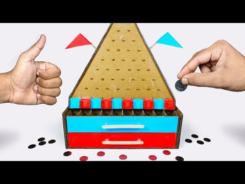 How to make PLINKO Money making Board Game from Cardboard DIY at HOME for KIDS