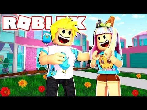 I Built CookieSwirl a Barbie Mansion in Roblox! Bloxburg Roleplay
