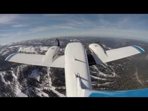 Piper Seneca Leaving South Lake Tahoe Airport Tail Mount Cam