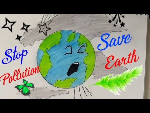 SAVE EARTH STOP POLLUTION Coloring Drawing For Kids || Save Environment Poster|Stop Global Warming|