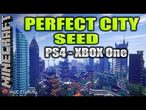 MINECRAFT PERFECT CITY SEED Number FLAT PLAINS RIVERS NATURAL SEED WORLD MAP PS4/XBOX ONE