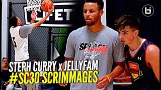 Steph Curry Teams Up w/ JELLYFAM For 5 on 5 Scrimmages at SC30 Select Camp! Seth Curry Too!