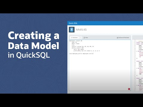 Creating a Data Model in QuickSQL