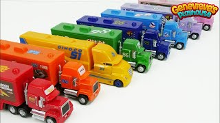 Disney Cars Toy Trucks Color Learning Video for Kids!