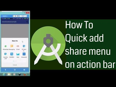 Adding share menu item in Android action bar | how to create share in actionbar in android studio