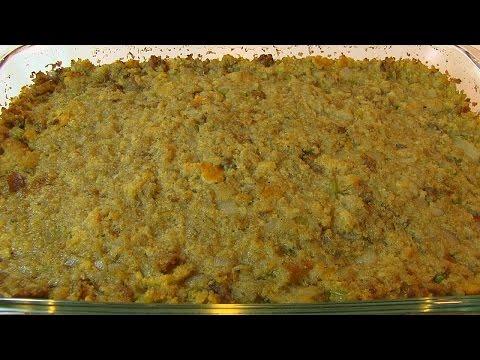 Betty's Cornbread-Sage Dressing with Italian Sausage  --  Thanksgiving