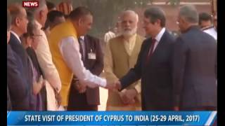 Cyprus President Nicos Anastasiades receives ceremonial reception at Rashtrapati Bhavan