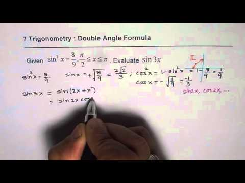 IMPORTANT Find Exact Value of Sin3x Given sin^2x Compound Angle Trig