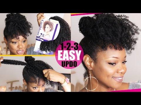 CROCHET BRAID (no braid) Curly Updo Natural Hair Tutorial | Fine Thin Natural Hair | BorderHammer