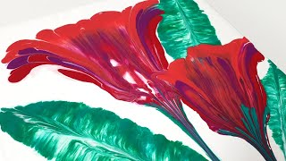 (161) Acrylic Pouring _ How to paint cockscomb flowers with string _ Designer Gemma77