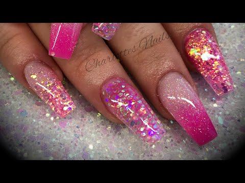 Acrylic nails - pink design set