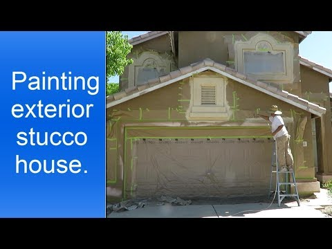 Painting exterior stucco house.