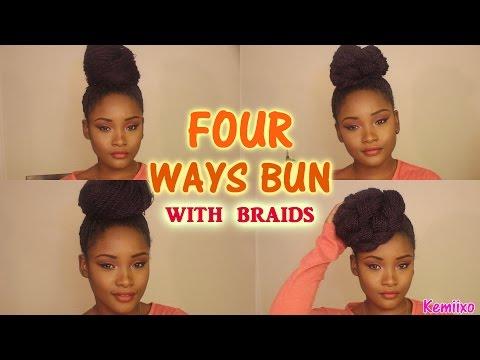 4 WAYS HAIR BUN STYLES with senegalese/rope twists braids | Kemiixo
