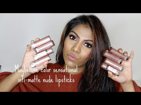 Maybelline color sensational inti-matte nude lipstick swatches ♡ Tan brown skin tone| Shuanabeauty