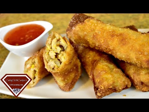 CRISPY CHICKEN AND VEGETABLE EGG ROLLS |Cooking With Carolyn