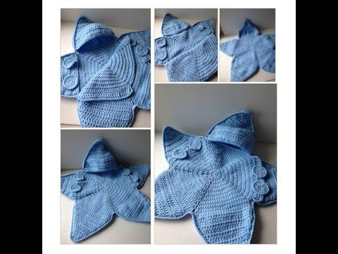 Blue Baby Bunting Bag - Blue Star Bunting - Handmade Crochet