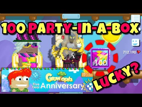 100 PARTY-IN-A-BOX !!!! ( Anniversary 2018 ) | Growtopia