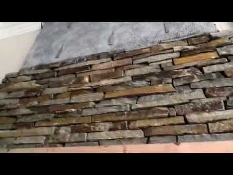 Fireplace Brick TRANSFORMED to Stone Fireplace