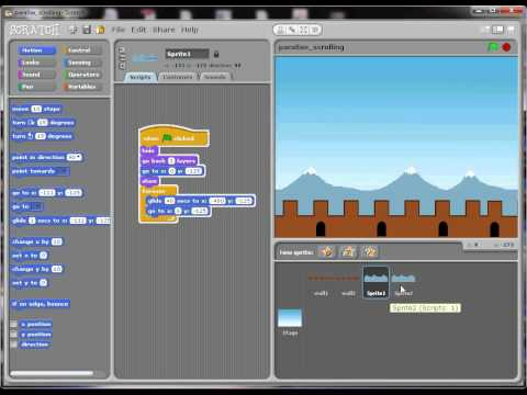 How to do automatic horizontal background scrolling in Scratch