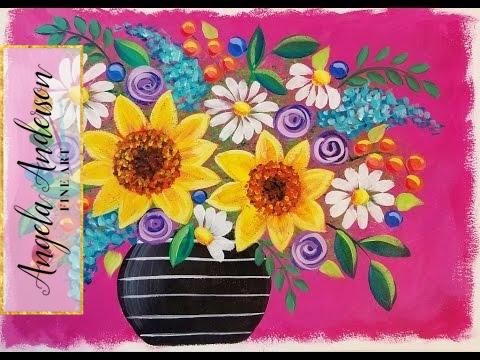 Easy Sunflowers & Daisies | Live Beginner Acrylic Painting Lesson | Boho Flower Vase Series