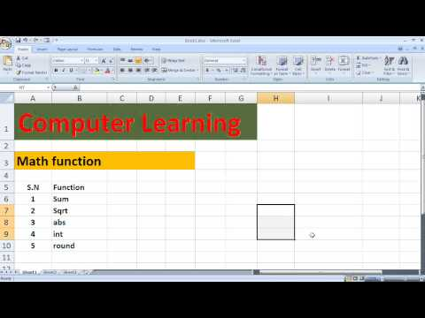 Mathematics Function in Ms Excel in Hindi Language