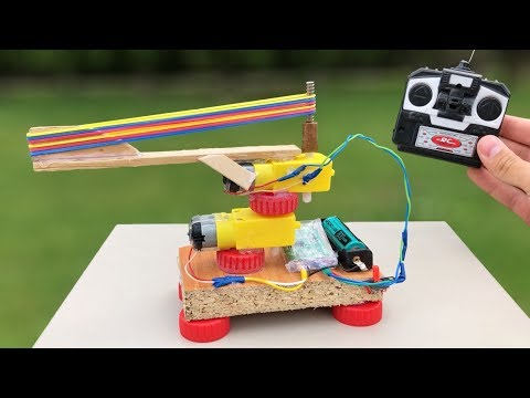 How to Make Rubber Band Gun with Remote Control - Turret Gun