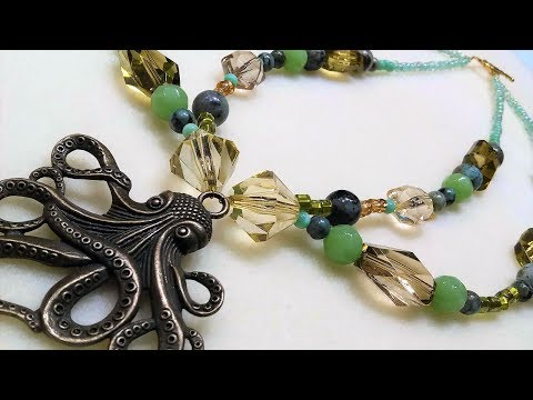 Chunky Double Strand Necklace with Octopus Pendant // Peter Pan Collar Look