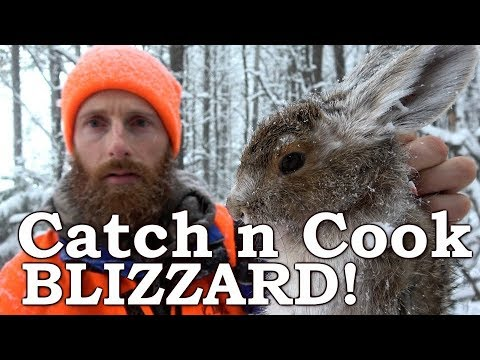Catch n Cook HARE & GROUSE!   IN A SNOW BLIZZARD!!!   Far NORTH CANADA