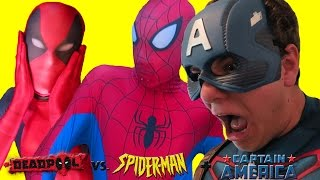 Spiderman & Captain America vs DEADPOOL! Superhero Movie In Real Life!
