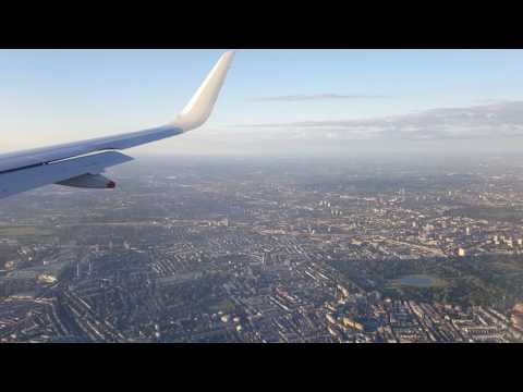 Sunset Scenic approach over London :: BA A320 landing Heathrow