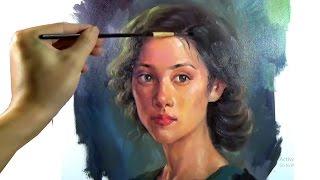 Art Oil painting girl portrait on canvas