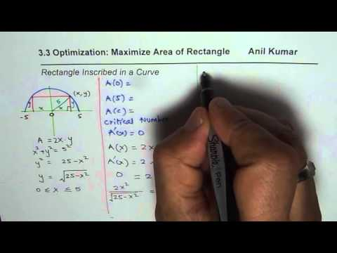 Maximum Area of a Rectangle Inscribed in Semi Circle of Radius 5 is 25 Application Derivatives