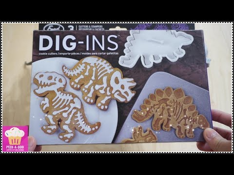 How to make Dinosaur Fossil Bones Cookies w/ DIG-INS Dinosaur Cookie Cutter/Stampers easy recipe