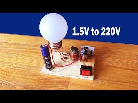 How to make easy inverter 1.5V to 220 Circuit at home - inverter 1.5V to 220V diagram