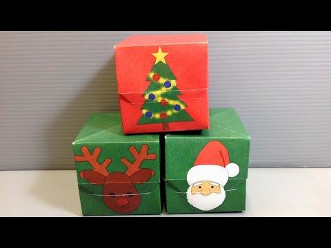 Origami Christmas Gift Box - Santa Reindeer Tree