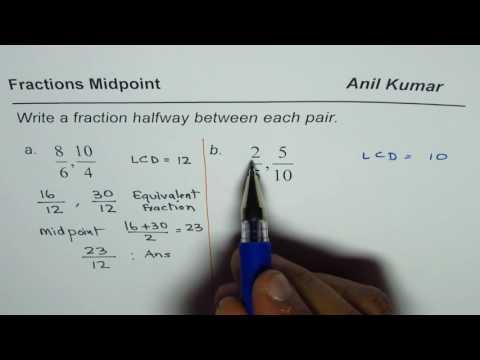 Write Fraction Halfway Between each Pair
