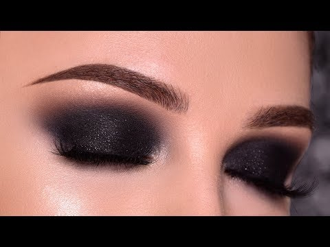 BLACK Sparkly Smokey Eye Makeup Tutorial