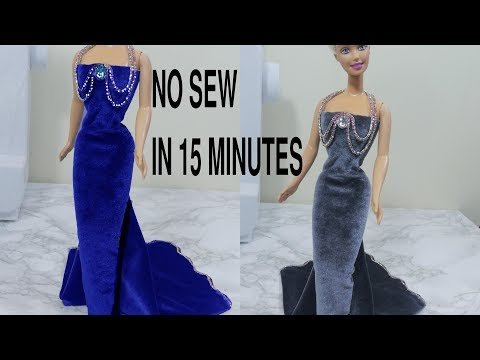 No sew removable dolls dressFloral Gown Dresses || Barbie Gowns || Doll Gowns || Gown Dresses