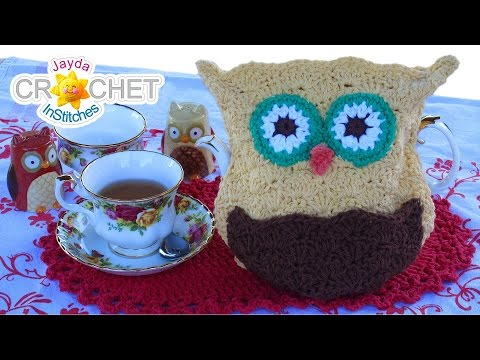 Owl Tea Cozy Crochet Pattern - Learn the Scallop Stitch!
