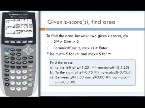 Finding z-Scores and Area under the Standard Normal Curve Using TI