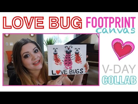 LOVE BUG FOOTPRINT CANVAS | V-DAY COLLAB || TwinMomPlus1