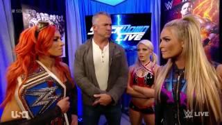 WWE Smackdown Live Natalya vs Becky Lynch ( Alexa Bliss attacks Becky Lynch )