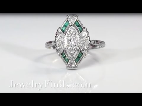 Vintage Art Deco 1930's .35ct t.w. Natural Green Emerald & Diamond Hand Engraved Platinum Ring