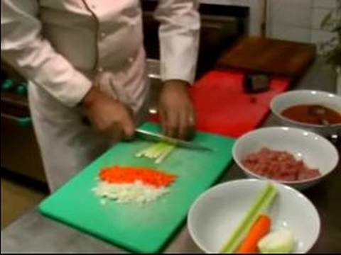 Italian Spaghetti Bolognese Recipe : Cutting Vegetables for Spaghetti Bolognese Sauce