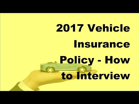 2017 Vehicle Insurance Policy    How to Interview Your Auto Insurance Agent