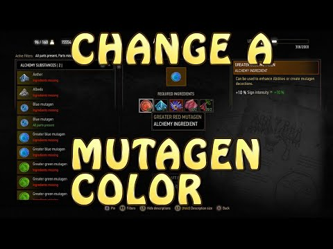 Witcher 3: Blood and Wine-- How To CHANGE/TRANSMUTE MUTAGENS into a DIFFERENT COLOR! 1080p60 PS4