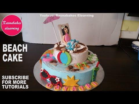 Beach summertime theme birthday cake