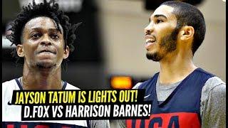 DON'T CHALLENGE Jayson Tatum To a Shooting Contest! DeAaron Fox vs Harrison Barnes at USA Practice!