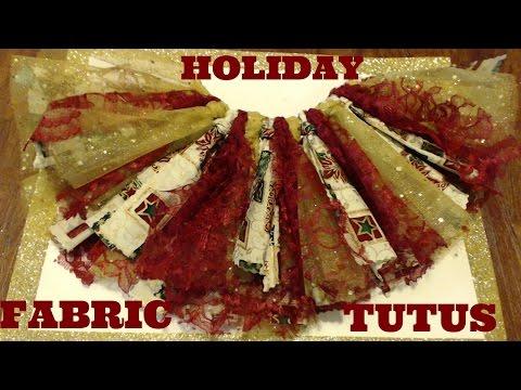 How to make a Xmas Fabric tutu tutorial: Christmas Holiday DIY - Faster & FLUFFIER #1