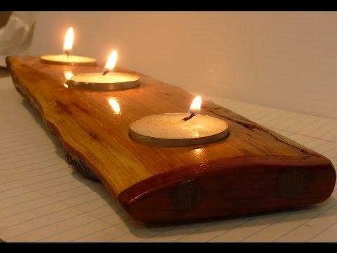 live edge candle holder